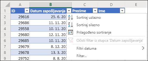 Sortiranje uzlaznim ili silaznim redoslijedom pomoću filtra tablice u programu Excel