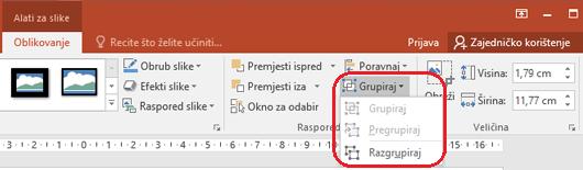 Naredbe Razgrupiraj na kartici oblikovanje na vrpci programa PowerPoint, u odjeljku Alati za slike.