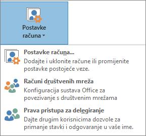 Snimka zaslona na kojoj se u Outlook dodaje ovlaštenik