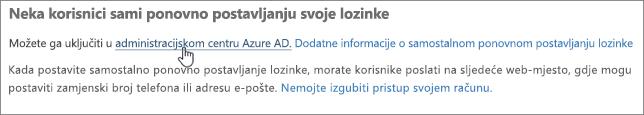Odaberite vezu da biste otvorili centar za administratore platforme Azure.