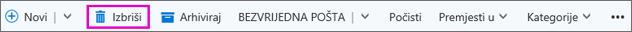 Gumb izbriši na vrpci u programu Outlook