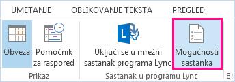 Snimka zaslona s mogućnostima sastanka