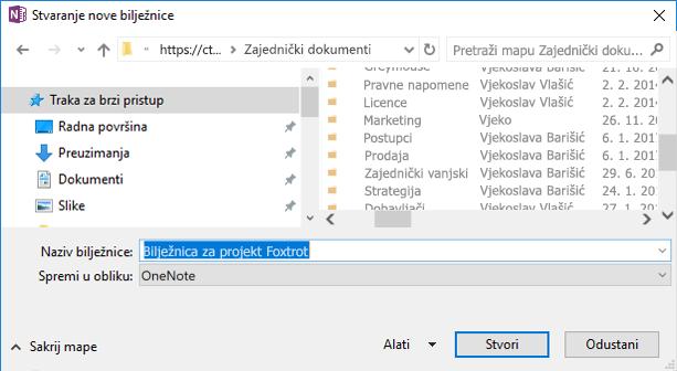 Dijaloški okvir Stvaranje nove bilježnice u programu OneNote za Windows 2016