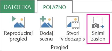 Snimka zaslona na kartici Polazno