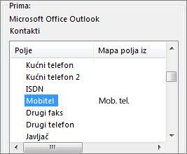stavka mob. mapirana je s poljem mobitel programa outlook