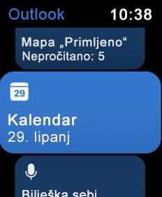 Prikaz zaslona za Apple Watch
