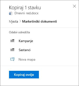 Snimka zaslona odabir mjesta prilikom kopiranja datoteke u sustavu SharePoint