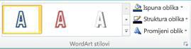 Grupa Stilovi za WordArt u programu Publisher 2010