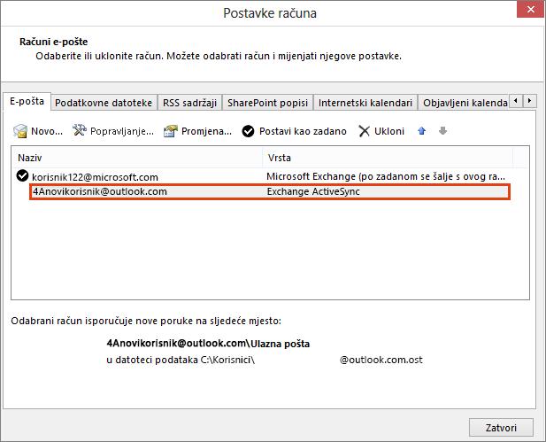 Računi e-pošte, postavke računa programa Outlook
