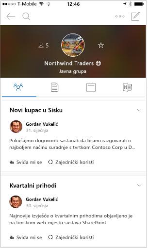 Prikaz razgovora grupe za Outlook mobilnu aplikaciju