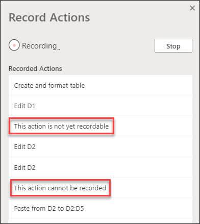 Dijaloški okvir akcije racord koje upućuje na to da se neki koraci ne mogu snimiti.