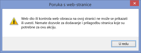 Poruka o pogrešci koja se prikazuje ako je skriptiranje onemogućeno na web-mjestu ili zbirci web-mjesta
