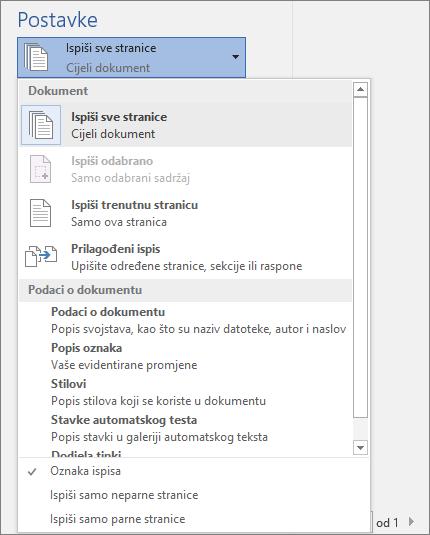 Snimka zaslona s prikazom okna ispis s izbornikom Ispiši sve stranice proširenim tako da prikazuje dodatne mogućnosti.