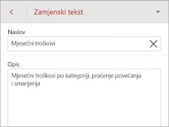Zamjenski tekst naredbi na kartici tablice