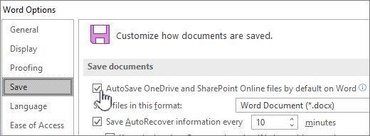 Uključivanje zadanog automatskog spremanja u programu Word