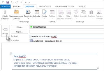 Slanje kalendara suradniku e-poštom
