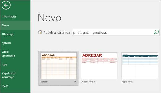 Isječak zaslona s okvirom za pretraživanje Excel korisničko sučelje s prikazom ispunjava dostupni Predlošci web-mjesto stavke i u okvir za pretraživanje rezultate dostupni predlošci.