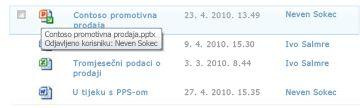 Zaslonski opis koji se prikazuje ispod ikone odjavljene datoteke. U njemu se nalazi naziv datoteke i ime korisnika koji je odjavio tu datoteku.