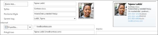 Možete dodati ili promijeniti sliku kontakta.