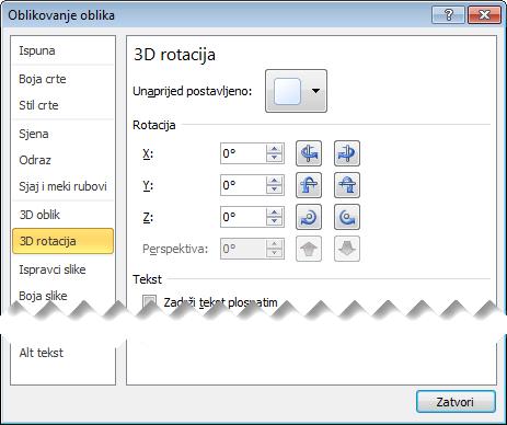 Mogućnosti 3D zakretanja u dijaloškom okviru Oblikovanje oblika