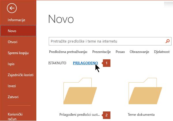 U odjeljku datoteka > novo, kliknite Prilagođeno, a zatim prilagođeni Predlošci sustava Office.