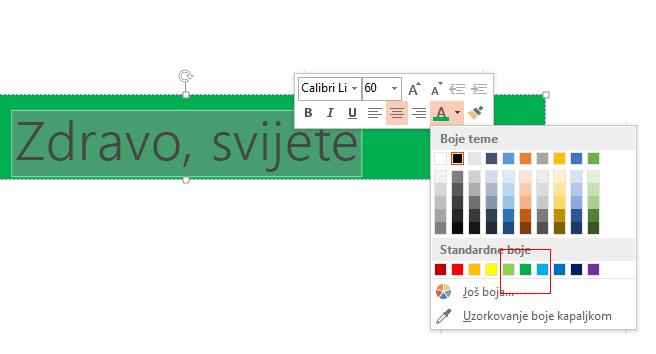 Odaberite tekst koji želite sakriti i kliknite boju pozadine u biraču boje fonta.