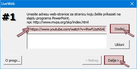 Lijepljenje https adrese videozapisa koji želite umetnuti