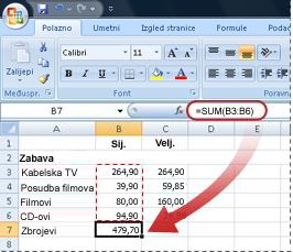 Primjer formule koja koristi funkciju SUM
