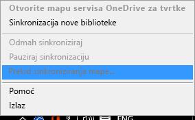 Snimka zaslona na kojoj je prikazana naredba Zaustavi sinkroniziranje mape prilikom klika na Klijent za sinkronizaciju servisa OneDrive za tvrtke desnom tipkom miša
