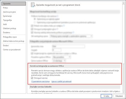 Dijaloški okvir mogućnosti sustava Office, na kartici Općenito u istaknutog odjeljka Inteligentna Services