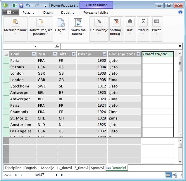 Stvaranje izračunatog polja pomoću jezika DAX i stupca Dodaj stupac