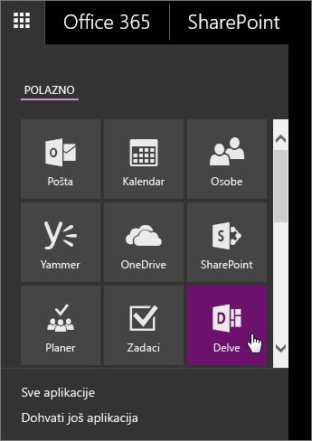 Snimka zaslona okna s aplikacijama sustava Office 365 i aktivnom pločicom servisa Delve.