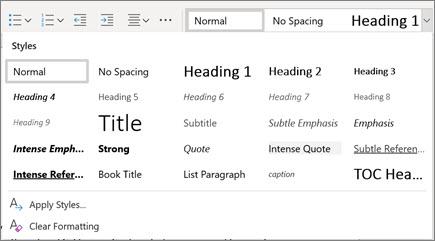 Stilovi u programu Word za web
