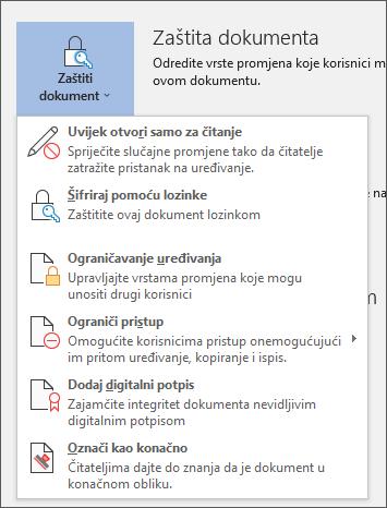Na izborniku Zaštita dokumenta u programu Word za Office 365