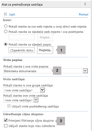 Popis svojstava web-dijela upita o sadržaju s tri oblačića