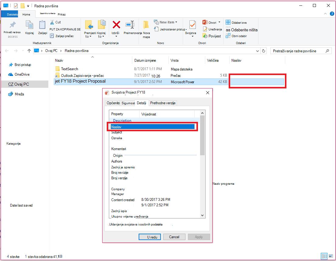 Svojstva dokumenata sustava Office u eksploreru za datoteke u sustavu Windows