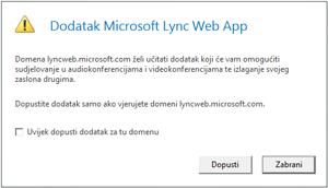 Pristup programu Lync putem weba – domenu dodatka uvijek smatraj pouzdanom ili omogući samo za ovu sesiju