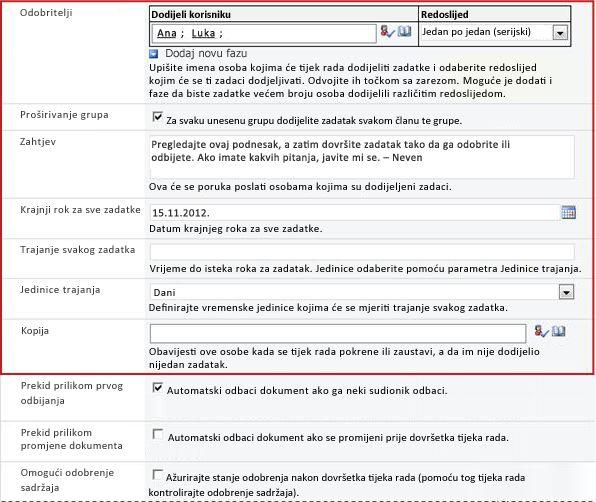 Obrazac za unos informacija specifičnih za izvođenje
