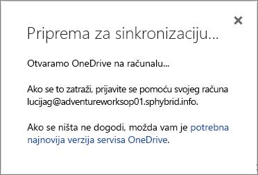 Snimka zaslona na kojoj se prikazuje dijaloški okvir Priprema za sinkronizaciju prilikom postavljanja servisa OneDrive za tvrtke za sinkronizaciju