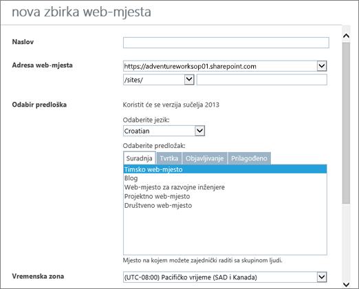 Dijaloški okvir Nova zbirka web-mjesta (gornja polovica)