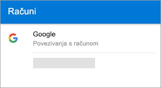 Outlook za Android može automatski pronaći račun za Gmail.
