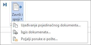 Snimka zaslona s karticom Skupna pisma u programu Word te naredbom Završi i spoji i njezinim mogućnostima.