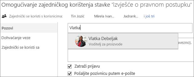 Snimka zaslona sa zajedničkim korištenjem datoteke na servisu OneDrive za tvrtke