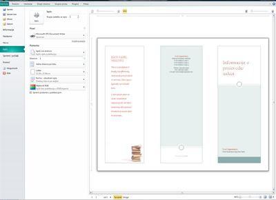 Pregled postavki ispisa u programu Publisher