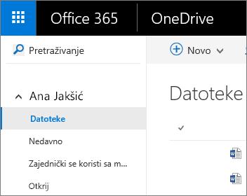 Snimka zaslona s prikazom datoteka na servisu OneDrive za tvrtke