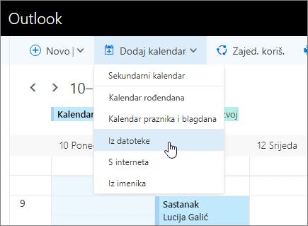 Snimka zaslona s dodavanje popis kalendara s iz odabrana datoteka.