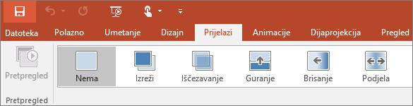 Pokazuje karticu prijelaza na vrpci u programu PowerPoint