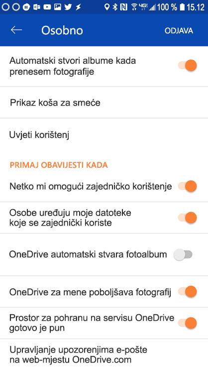 Idite u postavke servisa OneDrive za Android aplikaciju za postavljanje postavki obavijesti.