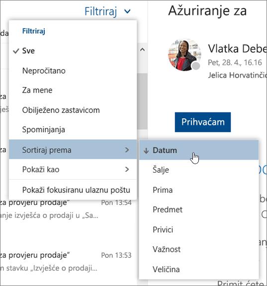 Snimka zaslona na kojoj se prikazuje izbornik Filtar s odabranom mogućnošću Sortiraj po