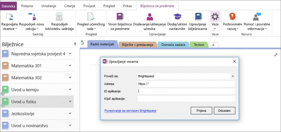 Snimka zaslona veze dijaloški okvir dodatka za bilježnice za predmete s pravilima grupe nije konfiguriran.